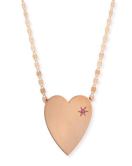 LANA 14k Large Heart Pendant Necklace w/ Pink Sapphire