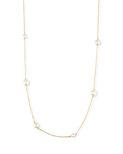 Long Simulated Pearl Station Necklace
