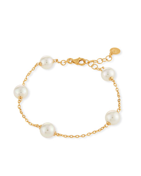 Simulated Pearl Station Bracelet