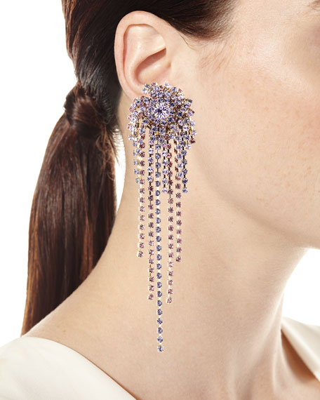 Starburst Crystal Chain Dangle Earrings