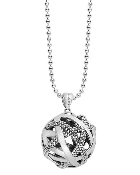 """Caviar Talisman Woven Knot Pendant Necklace, 34"""""""
