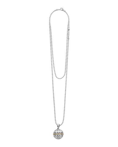 "18k Caviar Talisman Beaded Ball Pendant Necklace, 34"""