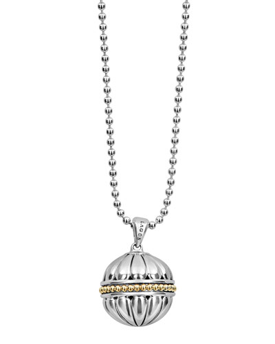 18k Caviar Talisman Beaded Ball Pendant Necklace, 34
