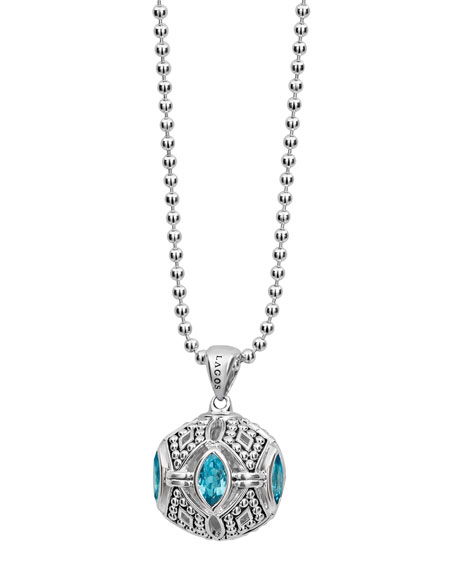 Caviar Talisman Marquise Ball Pendant Necklace, 34""