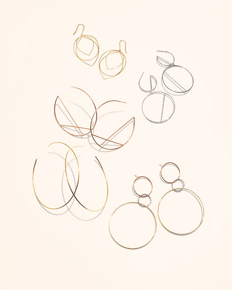 14k Double-Wire Eclipse Hoop Earrings