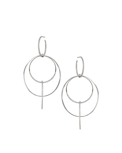 14k Large Diamond Bond Link Hoop Earrings