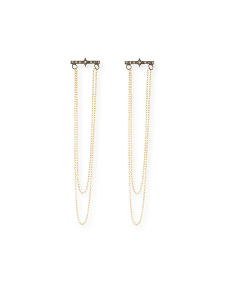 Old World 18k Gold/Silver Chain Chandelier Earrings