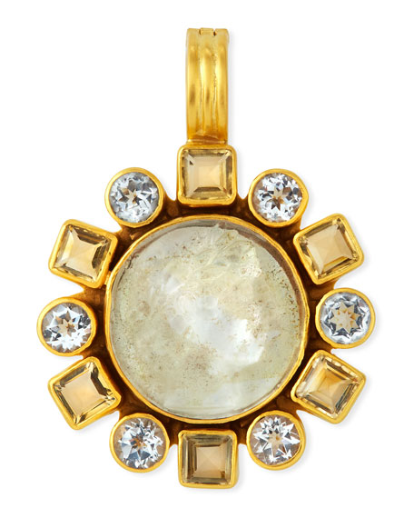 Dina Mackney Citrine, Topaz & Glass Pendant