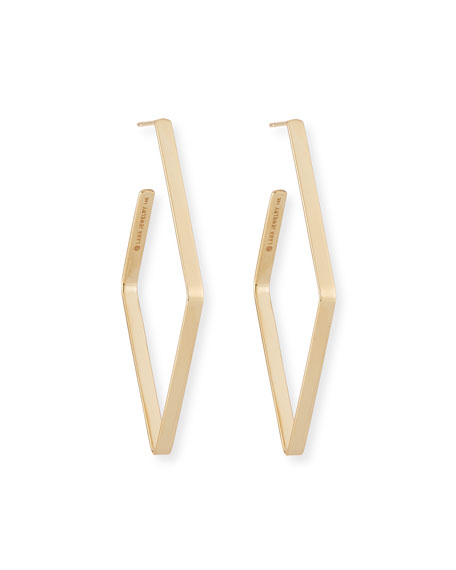 14k Small Diagonal Hoop Earrings