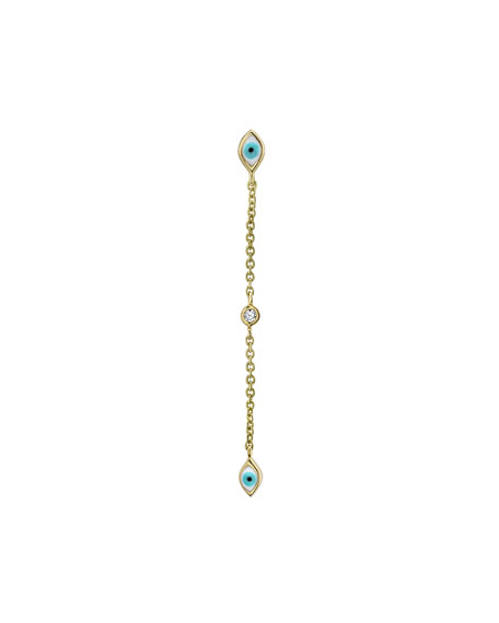 14k Gold Linear Enamel Evil Eye Drop Earring