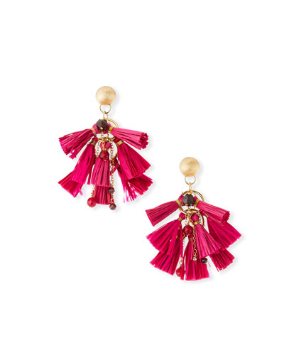Raffia & Bead Tassel Statement Earrings  Pink