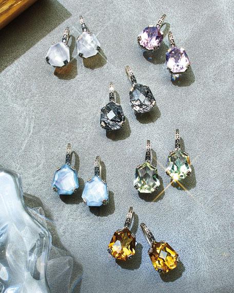 Galactical Freeform Quartz Earrings, Aquamarine
