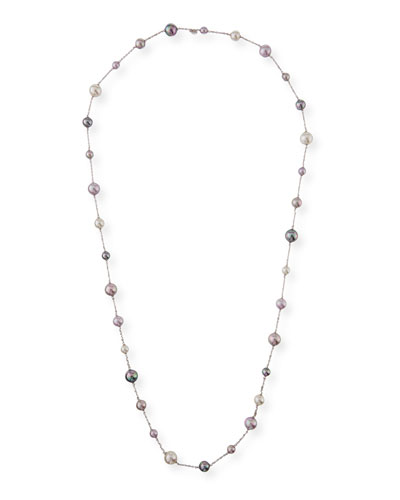 Multihued Manmade Pearl Chain Necklace  43