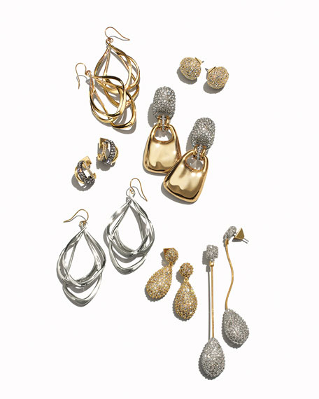 Alexis Bittar Orbit Wire Drop Earrings, Silvertone