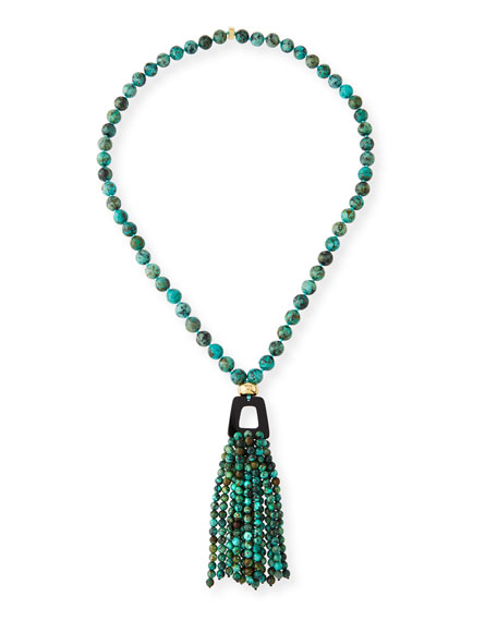 African Turquoise Tassel Pendant Necklace, 37""