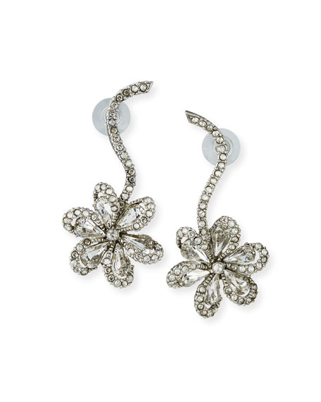 Crystal Delicate Flower Drop Earrings
