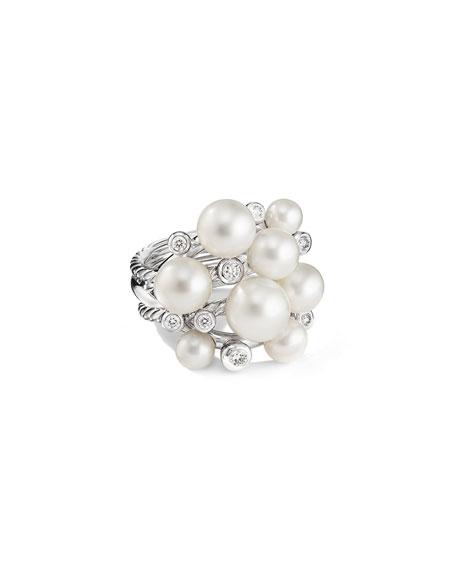 David Yurman Large Pearl Cluster Ring w/ Diamonds