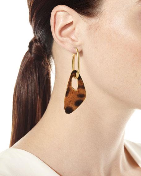 Saint Laurent Leopard-Print Calf Hair Huggie Hoop Earrings