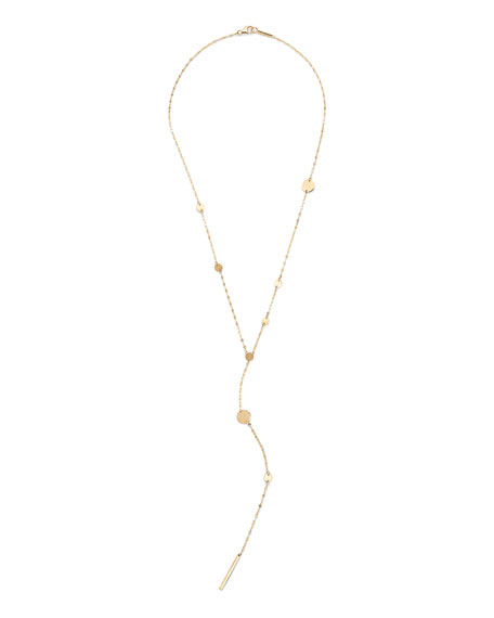 LANA 14k Gold Cleo Disc Y-Drop Lariat Necklace