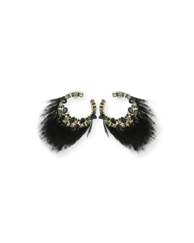 Lena Feather & Crystal Earrings