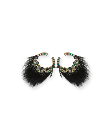 Mignonne Gavigan Lena Feather & Crystal Earrings