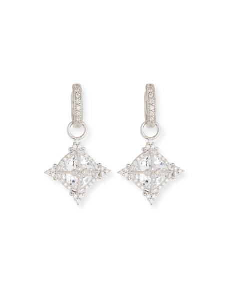 Jude Frances 18k White Gold Provence Cushion Topaz Earring Charms