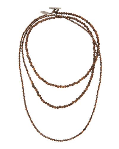 Mixed Wood and Hematite Long Wrap Necklace