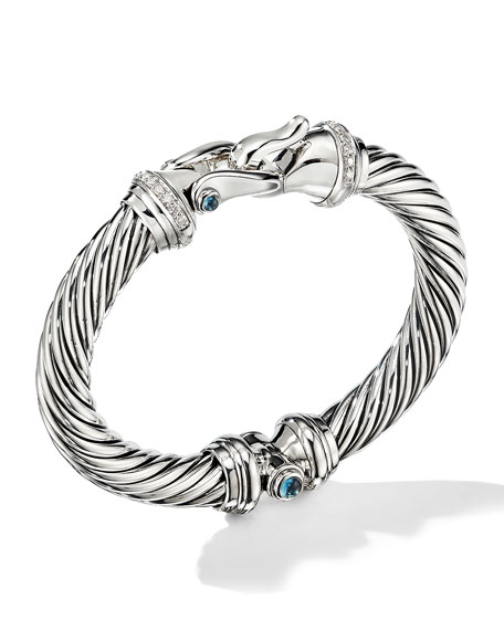 Image 1 of 4: David Yurman 9mm Cable Buckle Bracelet w/ Diamonds & Topaz
