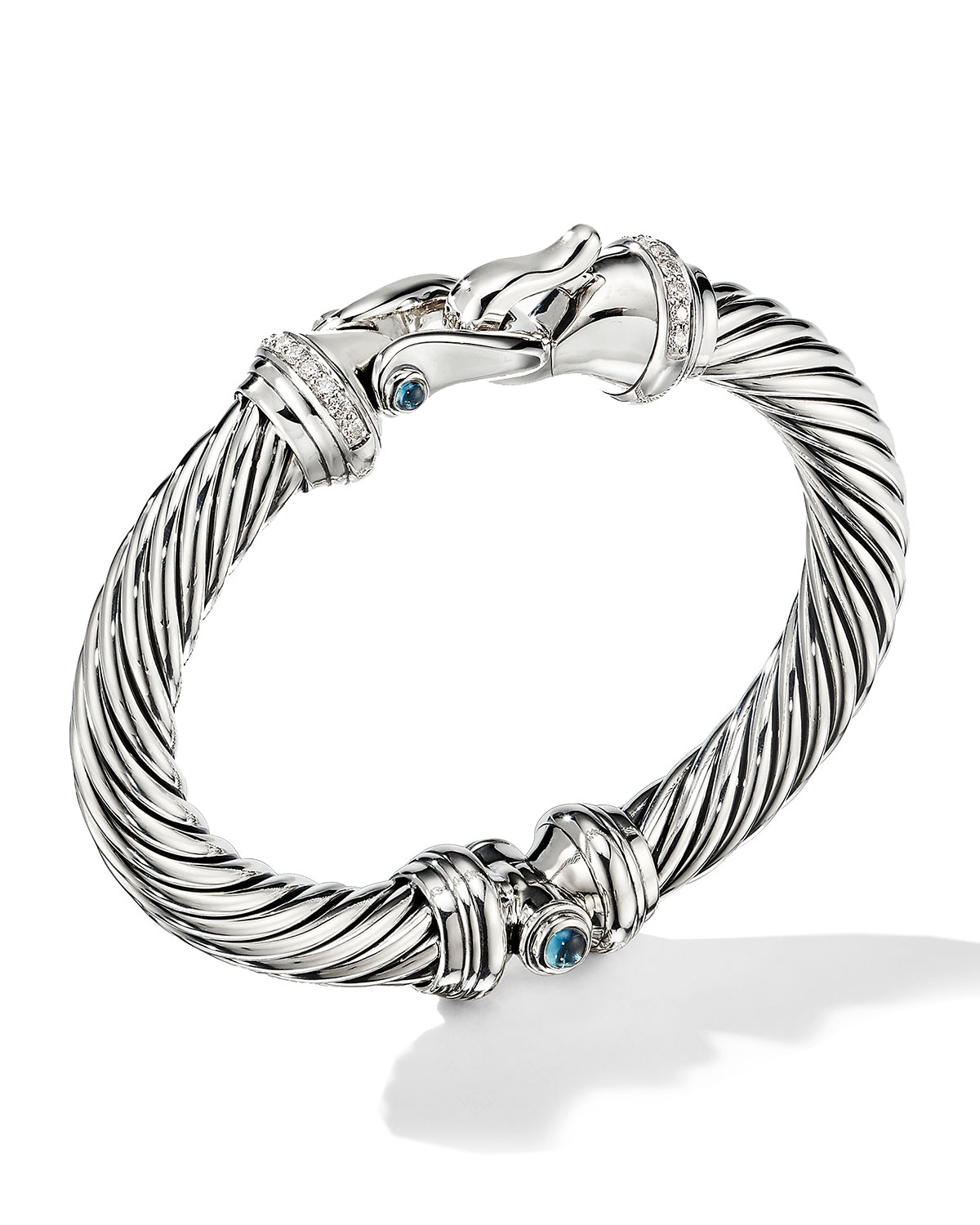 David Yurman 9mm Cable Buckle Bracelet w/ Diamonds & Topaz