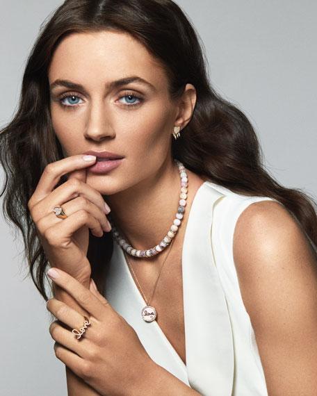Sydney Evan 14k Gold Love Medallion Necklace w/ Enamel & Diamonds
