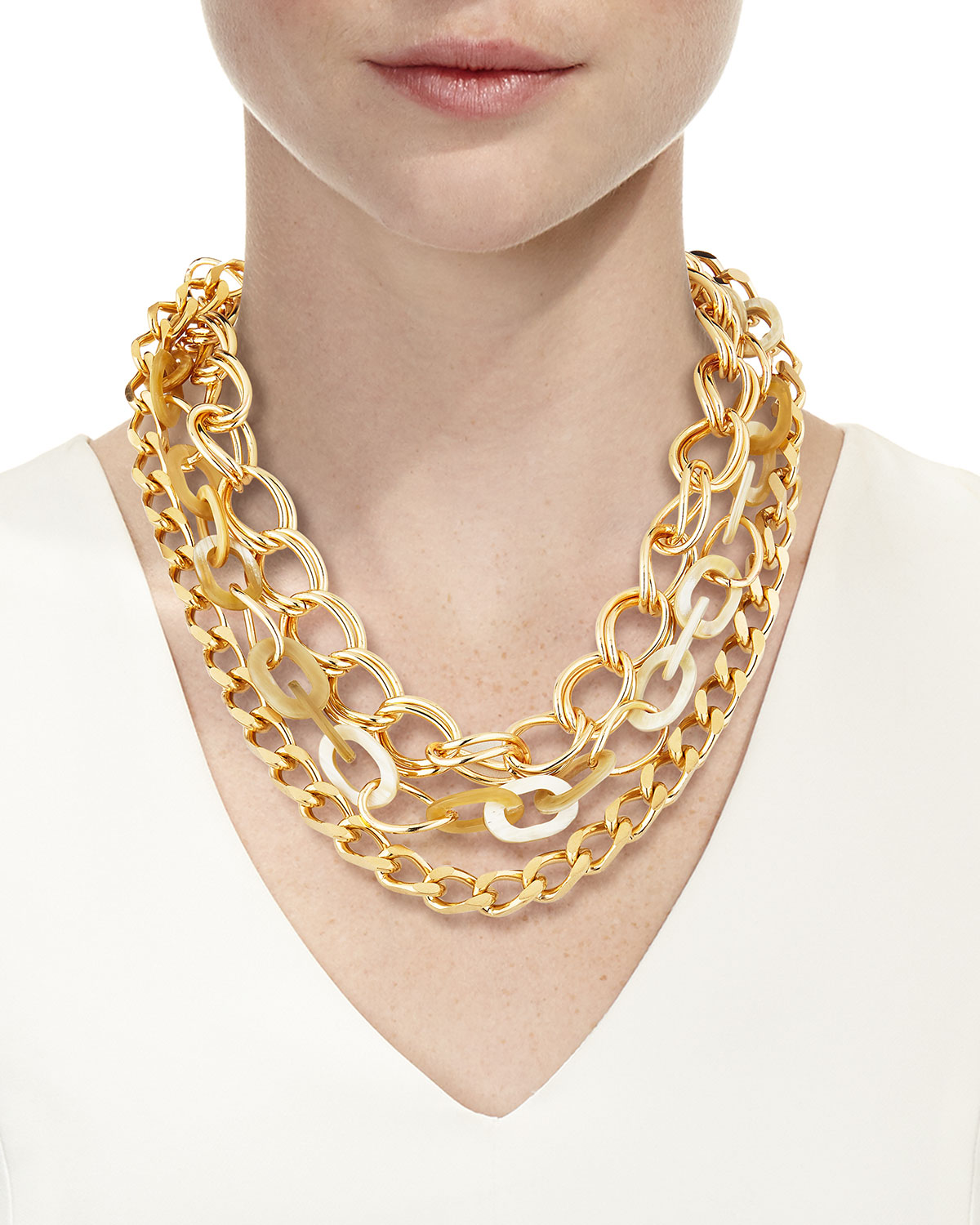 Chain & Horn 3 Strand Necklace, White by Akola