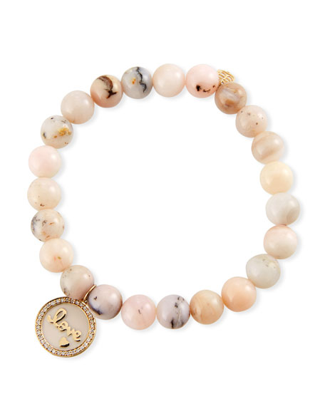 Sydney Evan 14k Love Medallion & Pink Opal Bracelet