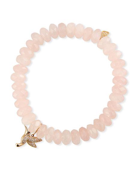 Sydney Evan 14k Diamond Hummingbird & Rose Quartz Bracelet