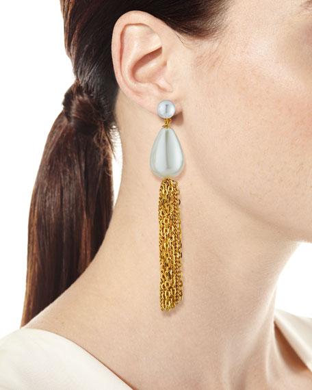 Kenneth Jay Lane Pearly Teardrop Tassel Clip Earrings