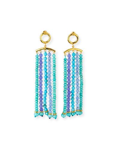 Amazonite & Amethyst Tassel Earrings