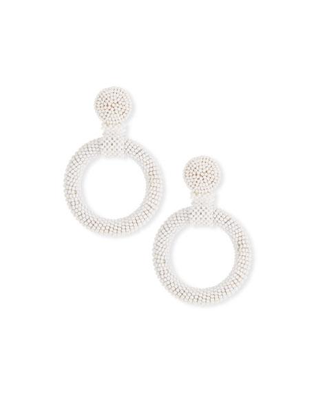 Kenneth Jay Lane Gypsy Hoop Drop Earrings, White