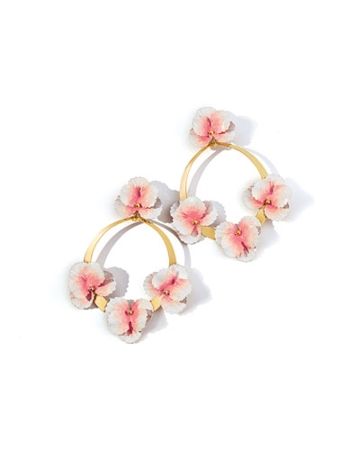 Voleta Floral Hoop-Drop Earrings  Blush