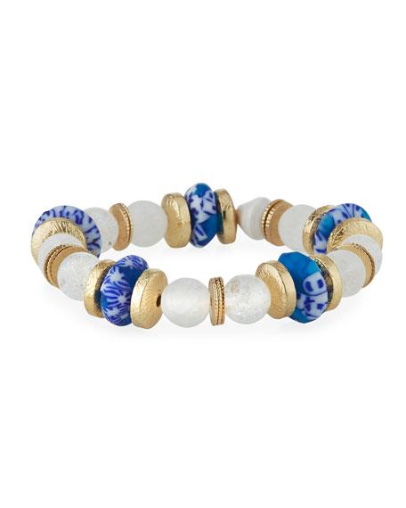 Akola Quartz & Glass Stretch Bracelet, Blue/White