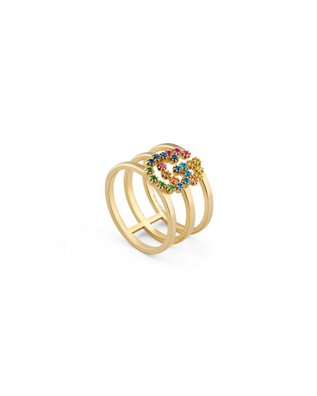 Gucci Running G Three-Row Band Ring with Topaz & Sapphire, Size 6.75