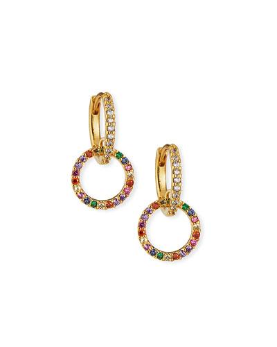 Huggie Earrings w/ Double-Pave Cubic Zirconia Hoop