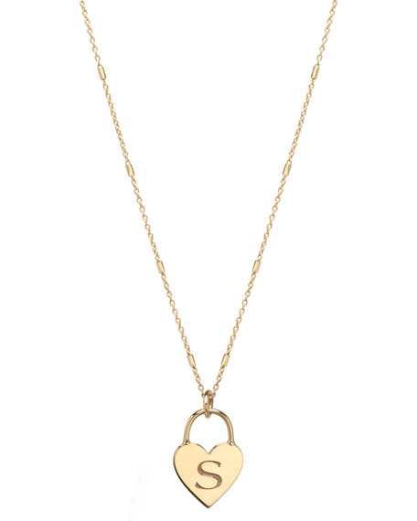 Zoe Chicco 14k Small Engraved Initial Heart Padlock Necklace