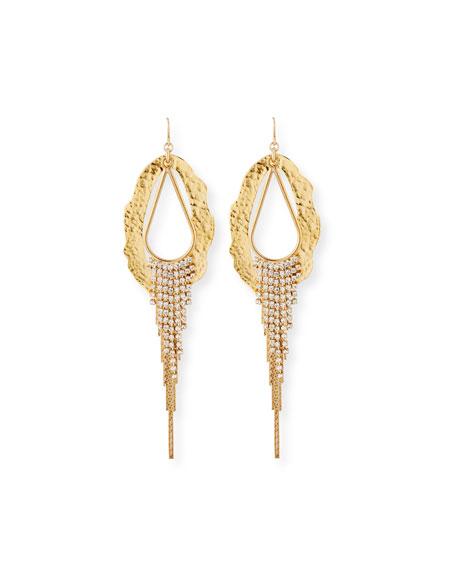 Devon Leigh Irregular Hoop-Drop Earrings w/ Crystals