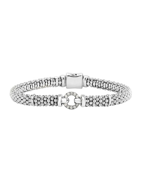 LAGOS Sterling Silver Rope Bracelet with Diamonds, 6mm