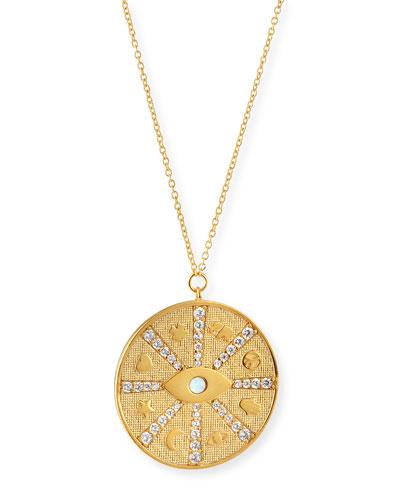 Cubic Zirconia Evil Eye Coin Pendant Necklace