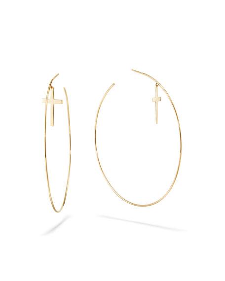 LANA 14k Cross & Wire Hoop Earrings