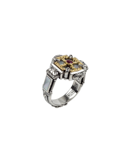 Konstantino Mother-of-Pearl & Ruby Cross Ring, Size 6-8