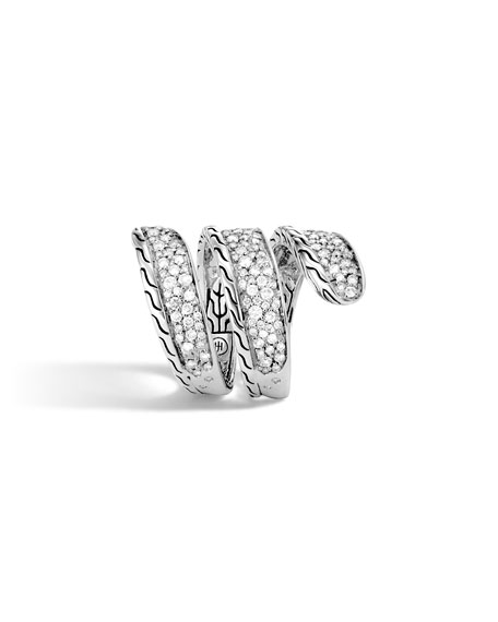 John Hardy Classic Chain Diamond Pave Wrap Ring, Size 7