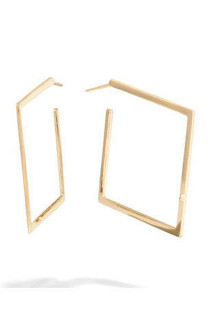 Lana 30mm Square Flat 14k Gold Hoop Earrings