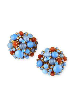 Jose & Maria Barrera Opalescent Button Clip Earrings