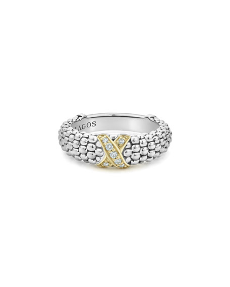 Image 2 of 4: Lagos Caviar Lux Diamond-X Ring w/ 18k Gold, Size 6-8